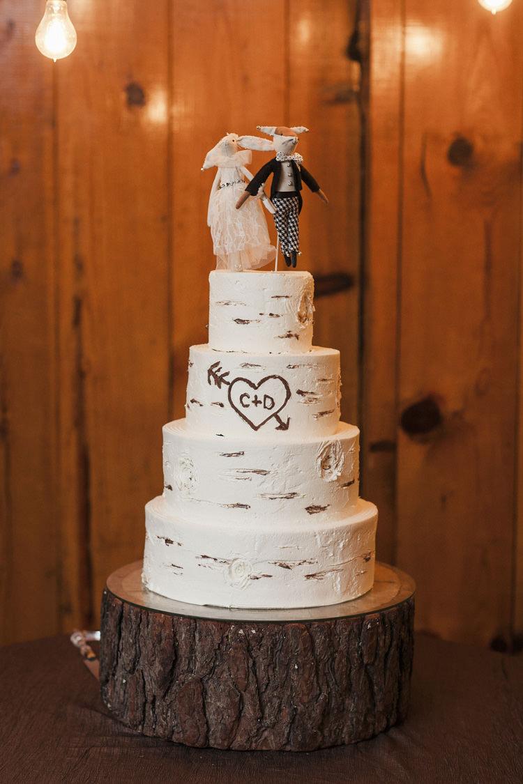 Buttercream Rustic Log Cake Graffiti Wood Initials Mouse Material Stuffed Couple Topper http://heatherelizabethphotography.com/