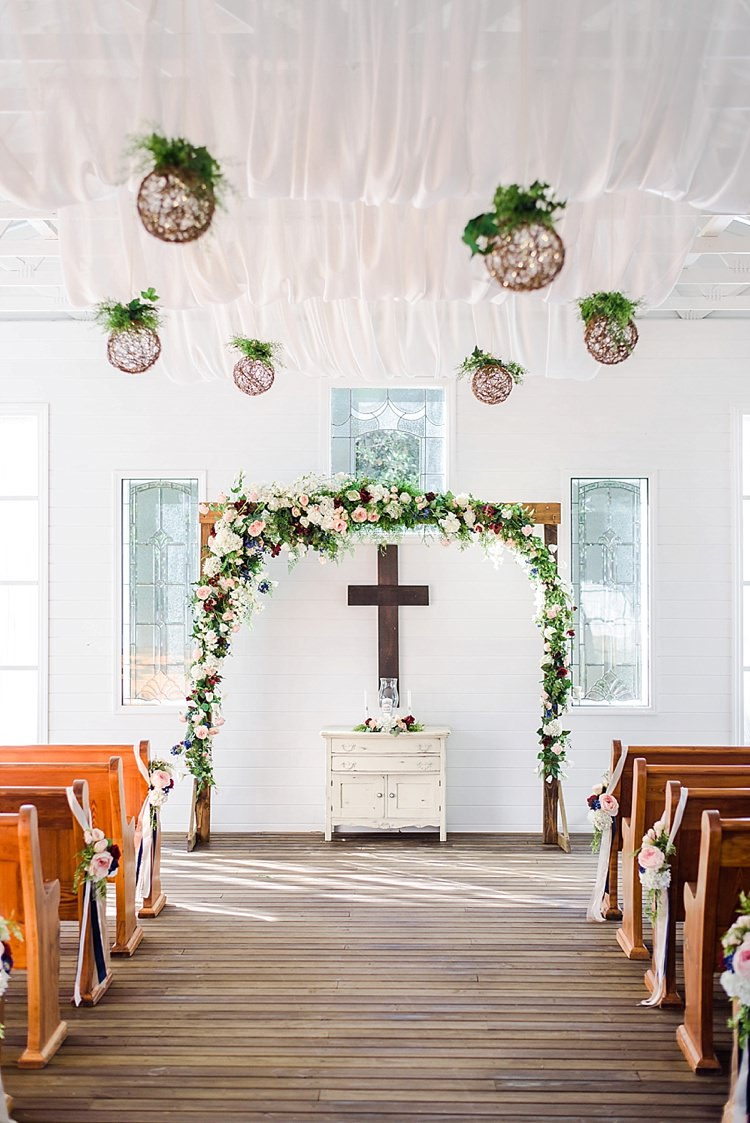 Flower Arch Aisle Venue Romantic Twinkling Garden Wedding http://sarahben.com/