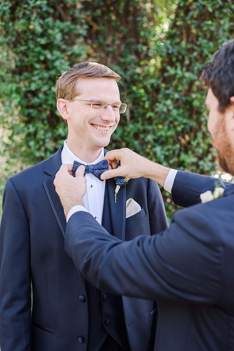 Groom Bow Tie Romantic Twinkling Garden Wedding http://sarahben.com/