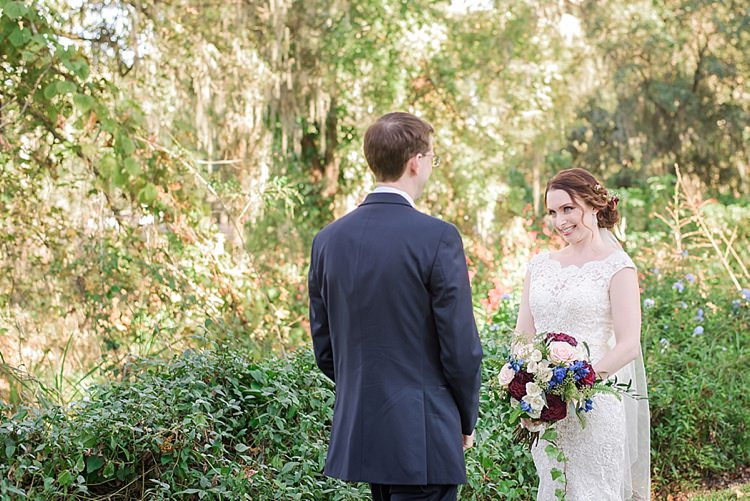 Bride Groom First Look Romantic Twinkling Garden Wedding http://sarahben.com/
