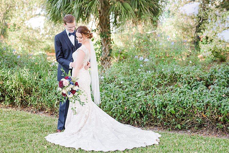 Bride Groom Pose Romantic Twinkling Garden Wedding http://sarahben.com/