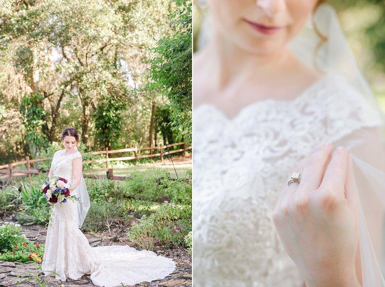 Bride Lace Closeup Romantic Twinkling Garden Wedding http://sarahben.com/