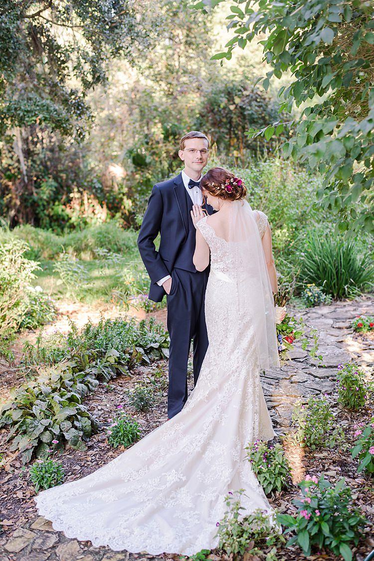Bride Groom Lace Romantic Twinkling Garden Wedding http://sarahben.com/