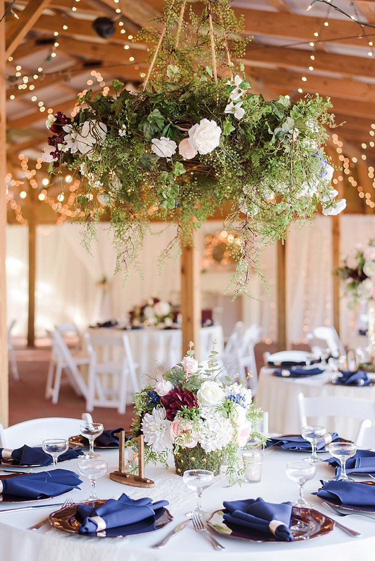Table Decor Hanging Floral Arrangements Romantic Twinkling Garden Wedding http://sarahben.com/