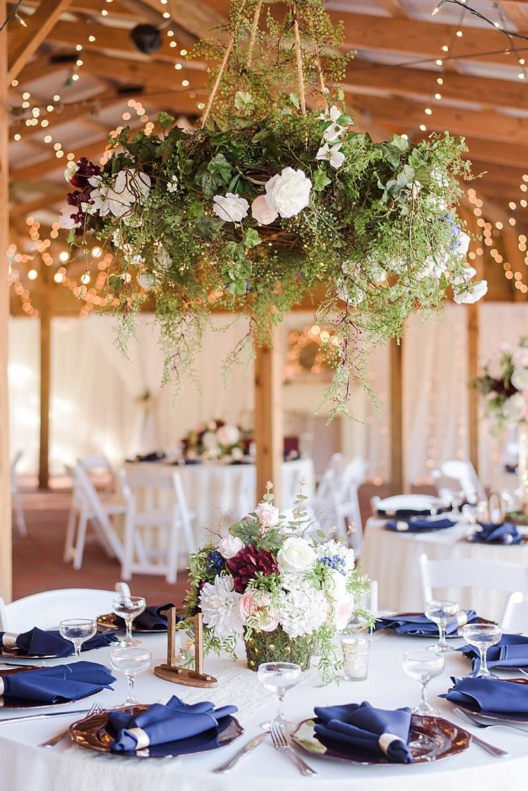 Table Decor Hanging Floral Arrangements Romantic Twinkling Garden Wedding http://sarahben.com/