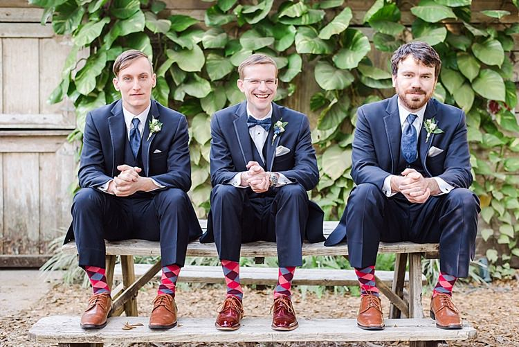 Groomsmen Socks Bow Ties Romantic Twinkling Garden Wedding http://sarahben.com/