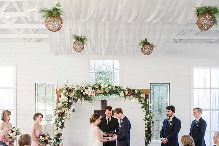 Ceremony Floral Arch Vows Romantic Twinkling Garden Wedding http://sarahben.com/