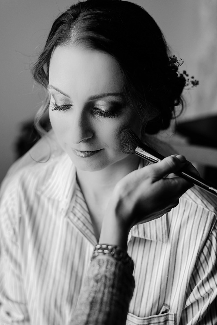 Bride Getting Ready Makeup Romantic Twinkling Garden Wedding http://sarahben.com/
