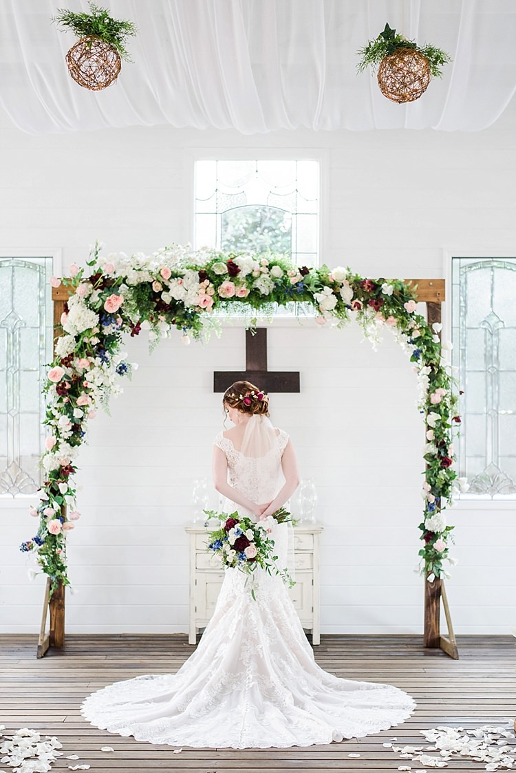 Bride Flower Arch Cross Lace Romantic Twinkling Garden Wedding http://sarahben.com/