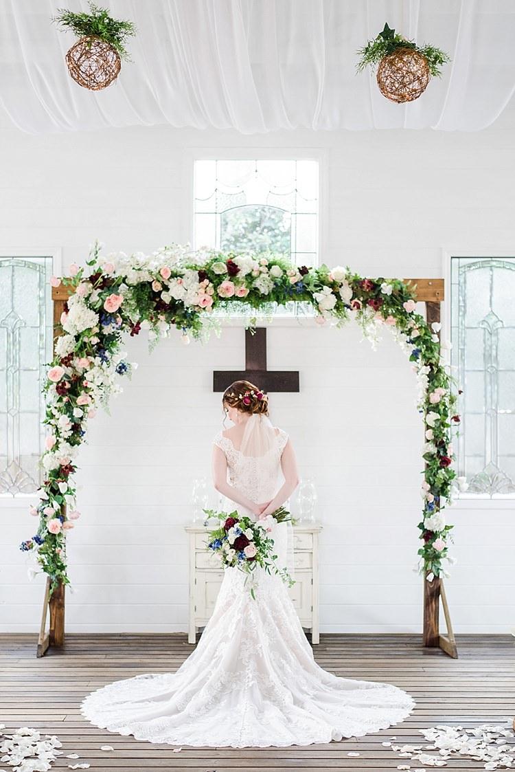 Bride Flower Arch Cross Lace Romantic Twinkling Garden Wedding http://sarahben.com/