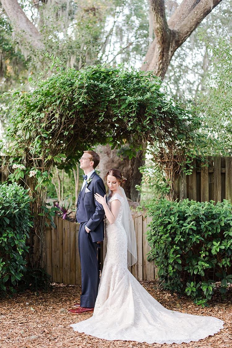 Bride Groom Embrace Romantic Twinkling Garden Wedding http://sarahben.com/