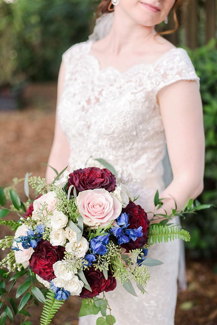 Bride Closeup Bouquet Lace Romantic Twinkling Garden Wedding http://sarahben.com/