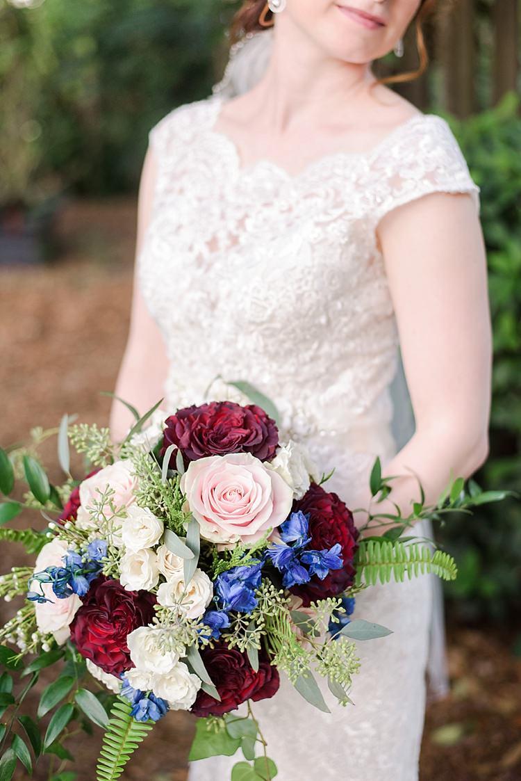 Bride Closeup Bouquet Lace Romantic Twinkling Garden Wedding http://sarahben.com/