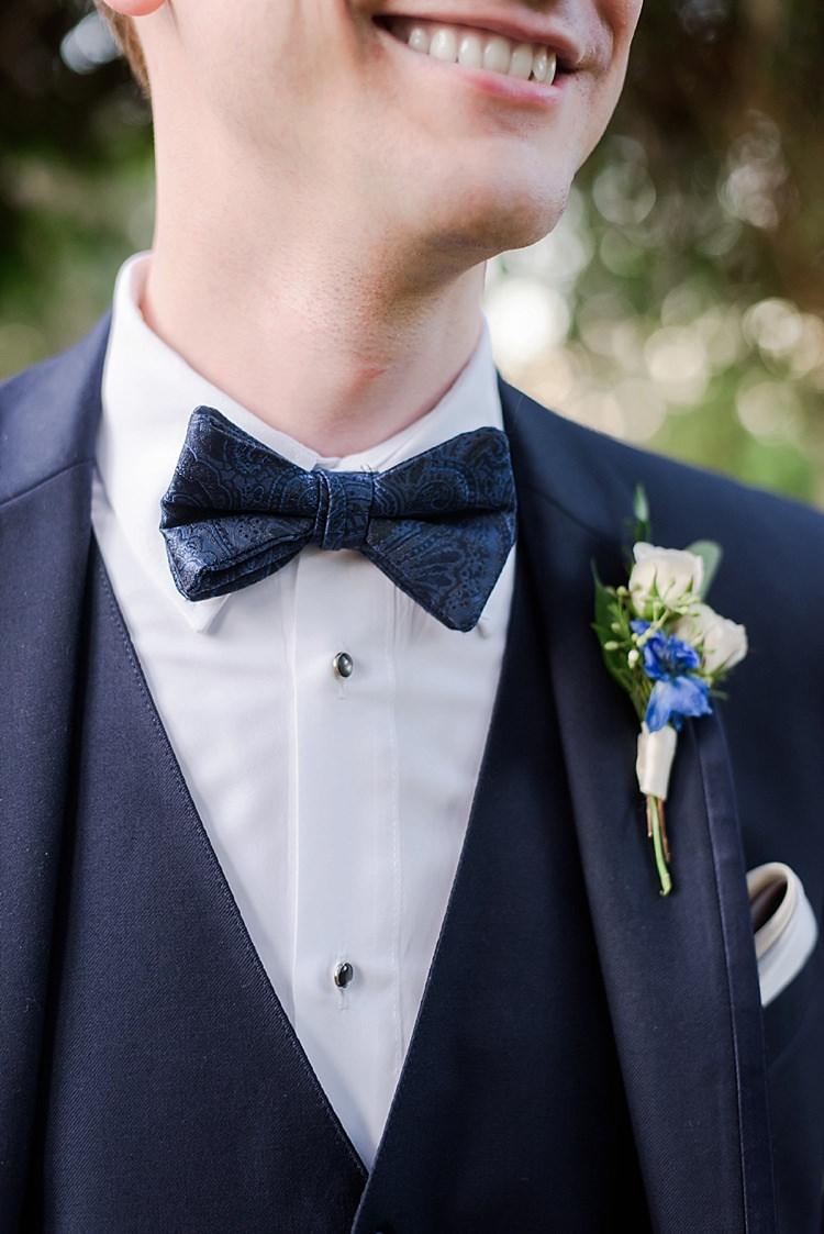 Groom Bow Tie Romantic Twinkling Garden Wedding http://sarahben.com/