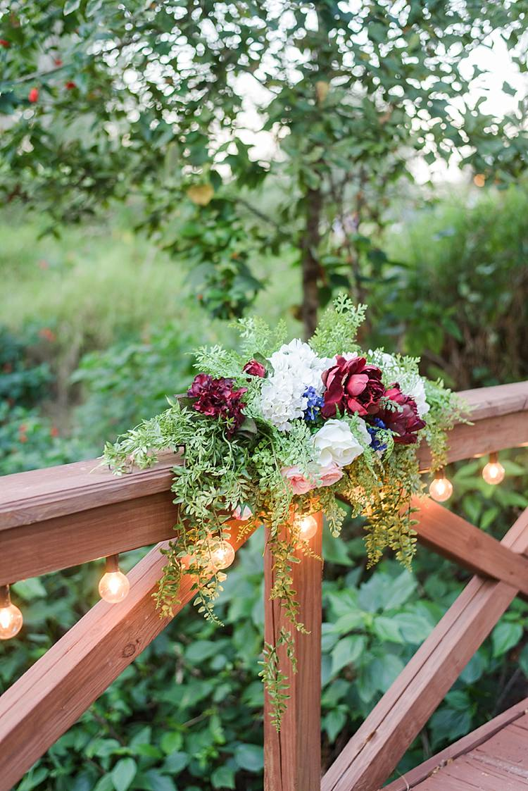 Bridge Flowers Festoon Lighting Romantic Twinkling Garden Wedding http://sarahben.com/