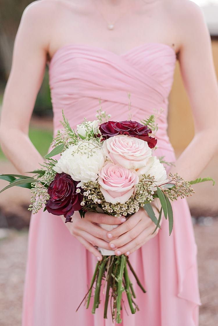 Bridesmaid Pink Bouquet Romantic Twinkling Garden Wedding http://sarahben.com/