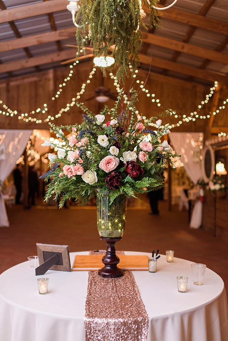 Centre Piece Roses Romantic Twinkling Garden Wedding http://sarahben.com/