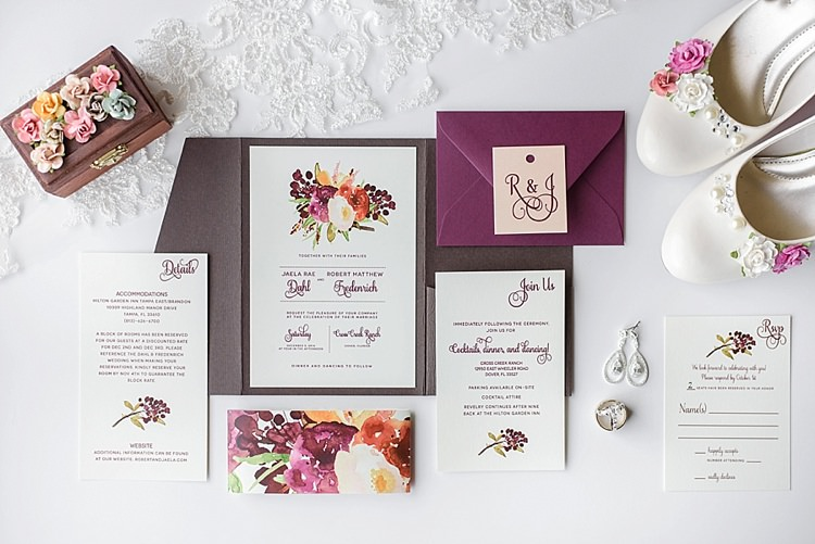 Stationery Floral Invitations Romantic Twinkling Garden Wedding http://sarahben.com/