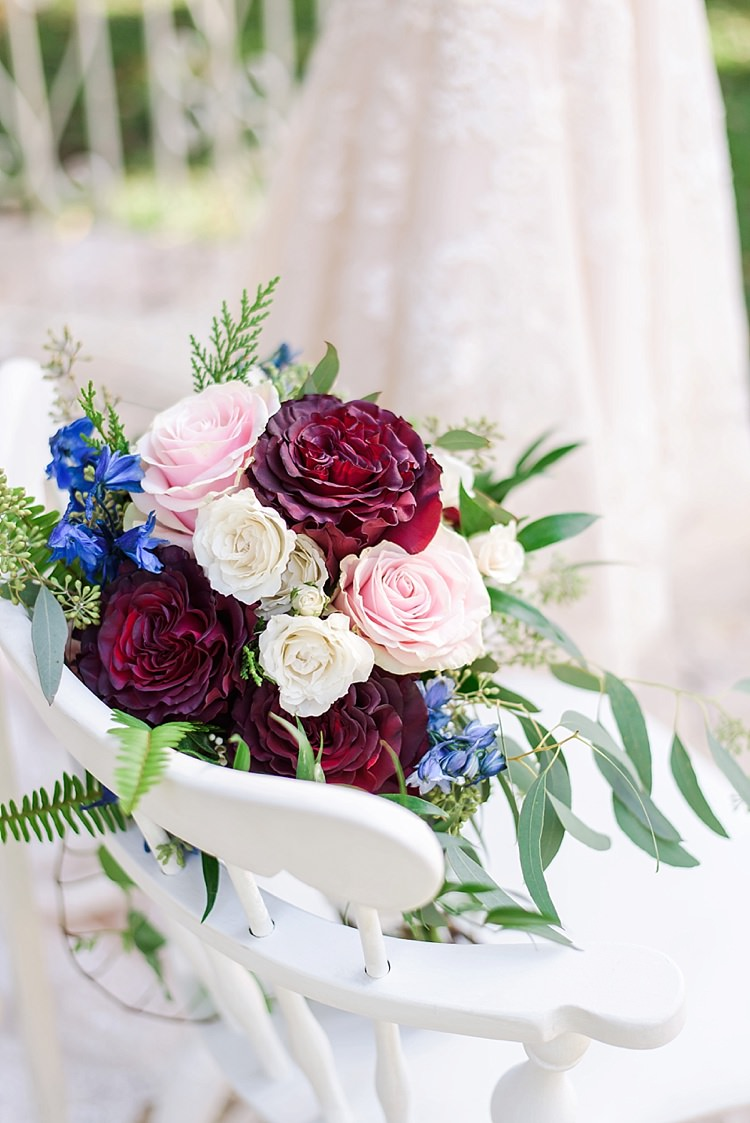 Bouquet Roses Romantic Twinkling Garden Wedding http://sarahben.com/