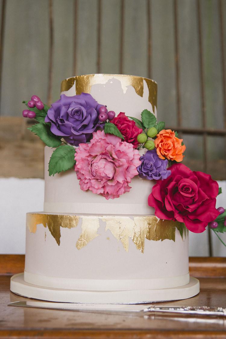 Metallic Buttercream Cake Rose Flowers Multicoloured Gold http://www.mywildrose.co.uk/