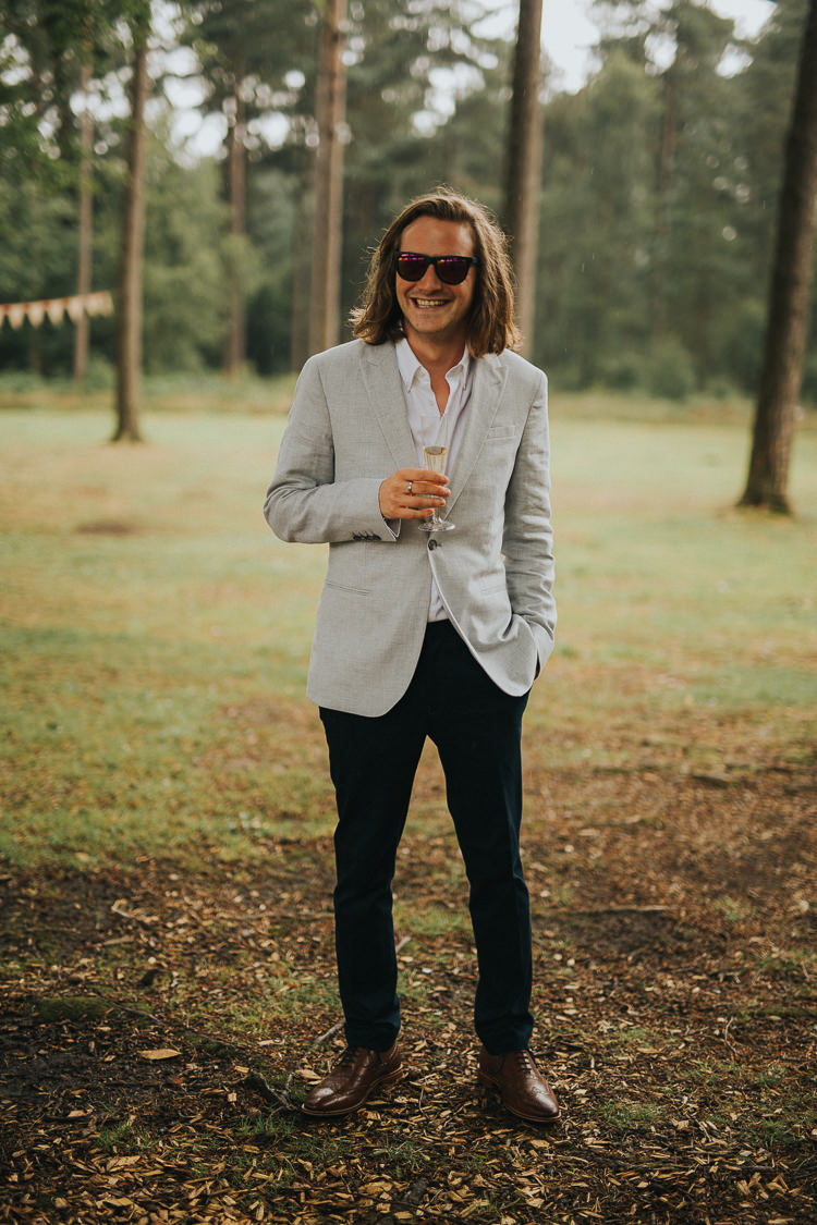 Groom Pale Grey Jacket Black Trousers Sunglassses Indie Forest Origami Cranes Wedding http://www.alittlepicture.com/