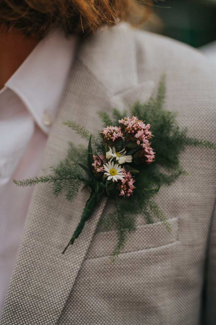 Buttonhole Groom Fern Flower Foliage Indie Forest Origami Cranes Wedding http://www.alittlepicture.com/