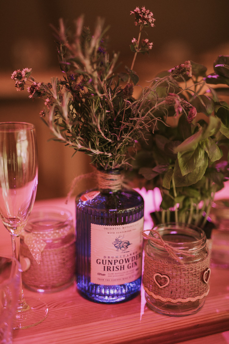 Gin Bottle Flowers Centrepiece Indie Forest Origami Cranes Wedding http://www.alittlepicture.com/