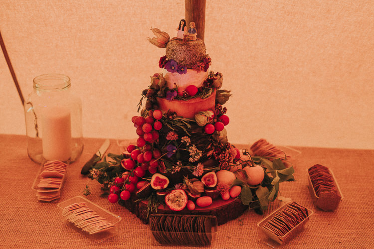 Cheese Tower Stack Cake Indie Forest Origami Cranes Wedding http://www.alittlepicture.com/