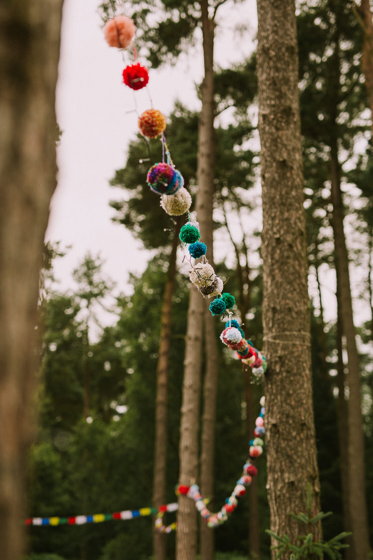 Wool Pom Pom Garland Indie Forest Origami Cranes Wedding http://www.alittlepicture.com/