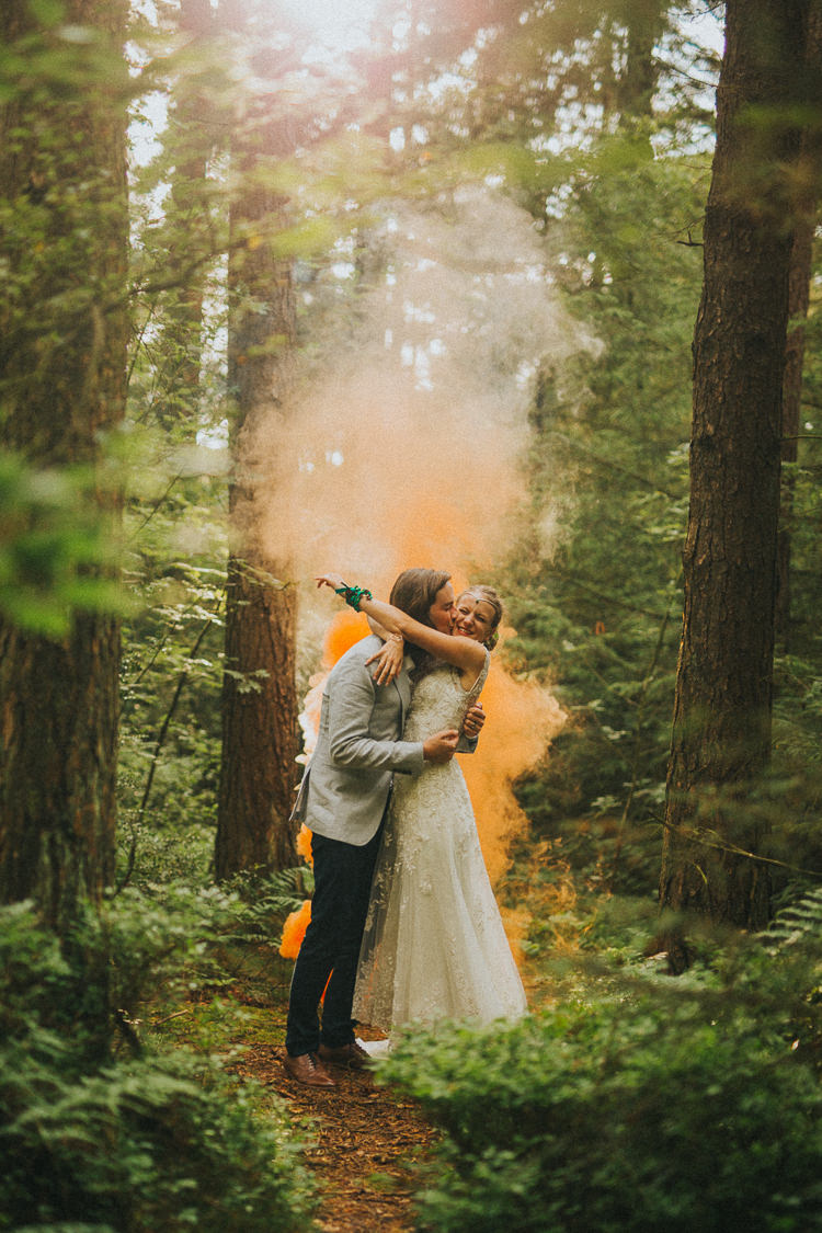 Smoke Bomb Bride Groom Portrait Indie Forest Origami Cranes Wedding http://www.alittlepicture.com/