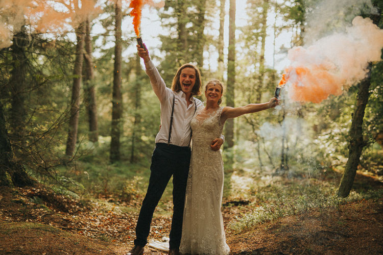 Smoke Bomb Indie Forest Origami Cranes Wedding http://www.alittlepicture.com/