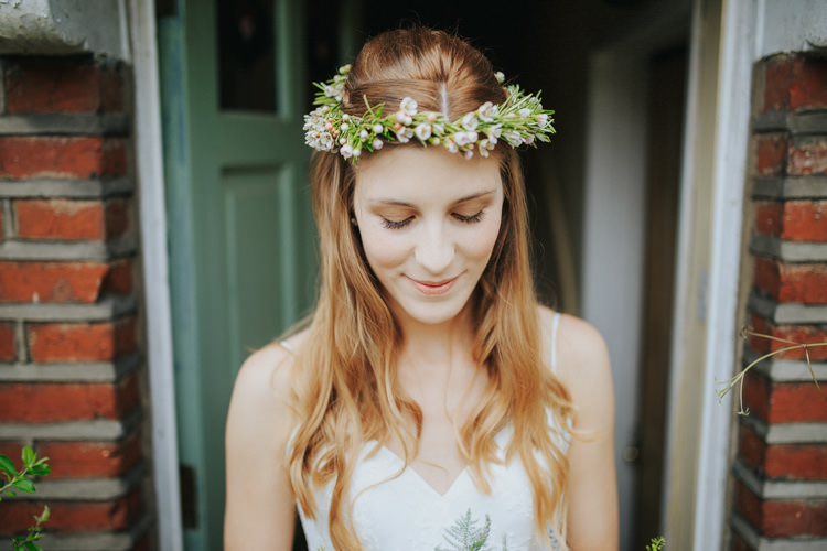 Long Wavy Hair Bride Bridal Crown Flowers Ethereal Alternative Country Barn Wedding Dark Moody Sky http://joshuapatrickphotography.com/