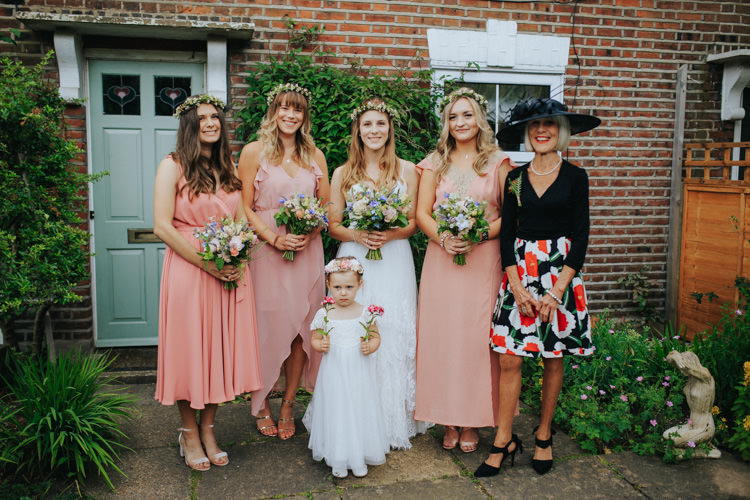 Coral Peach Bridesmaid Dresses Ethereal Alternative Country Barn Wedding Dark Moody Sky http://joshuapatrickphotography.com/