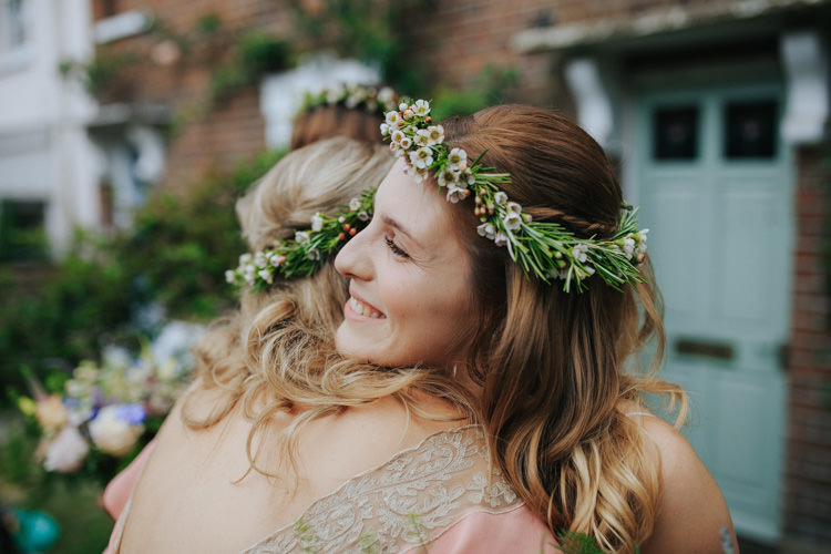 Waxflower Flower Crown Bride Bridesmaid Ethereal Alternative Country Barn Wedding Dark Moody Sky http://joshuapatrickphotography.com/