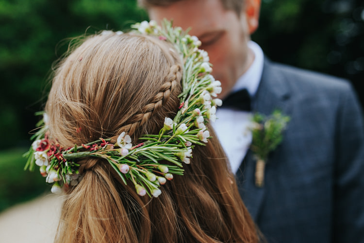 Bride Bridal Hair Waxflower Flower Crown Circlet Halo Headdress Ethereal Alternative Country Barn Wedding Dark Moody Sky http://joshuapatrickphotography.com/