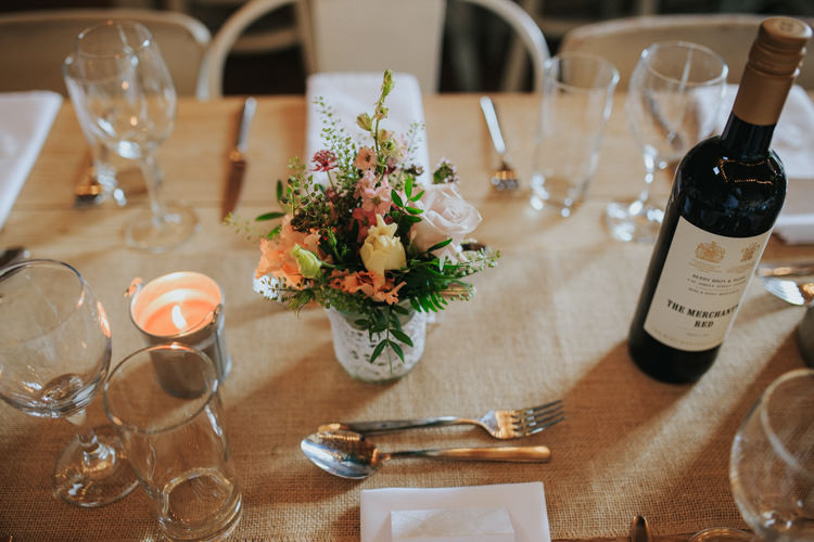 Hessian Table Cloths Flowers Ethereal Alternative Country Barn Wedding Dark Moody Sky http://joshuapatrickphotography.com/