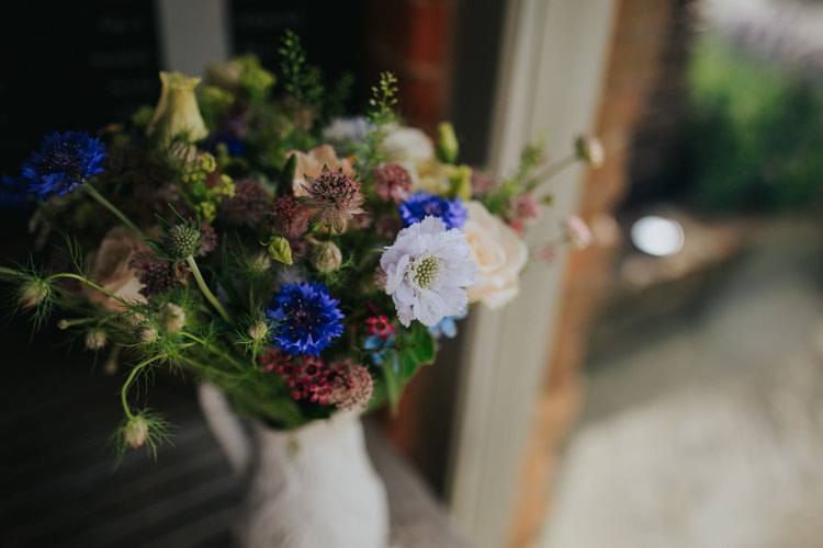 Jug Flowers Nigella Pink Blue Ethereal Alternative Country Barn Wedding Dark Moody Sky http://joshuapatrickphotography.com/