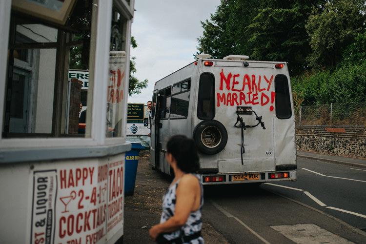 Nearly Married Van Transport Grafitti Ethereal Alternative Country Barn Wedding Dark Moody Sky http://joshuapatrickphotography.com/