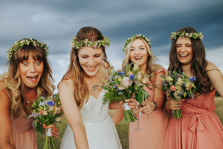 Flower Crowns Bride Bridesmaids Bridal Bouquets Ethereal Alternative Country Barn Wedding Dark Moody Sky http://joshuapatrickphotography.com/