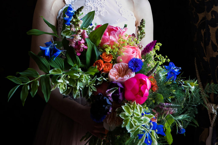 Bouquet Bride Bridal Pink Peony Peonies Rose Blue Foliage Greenery Her Heart Was A Secret Garden Wedding Ideas Woodland Colourful Spring Bluebells Flowers http://sarabeaumontphotography.com/