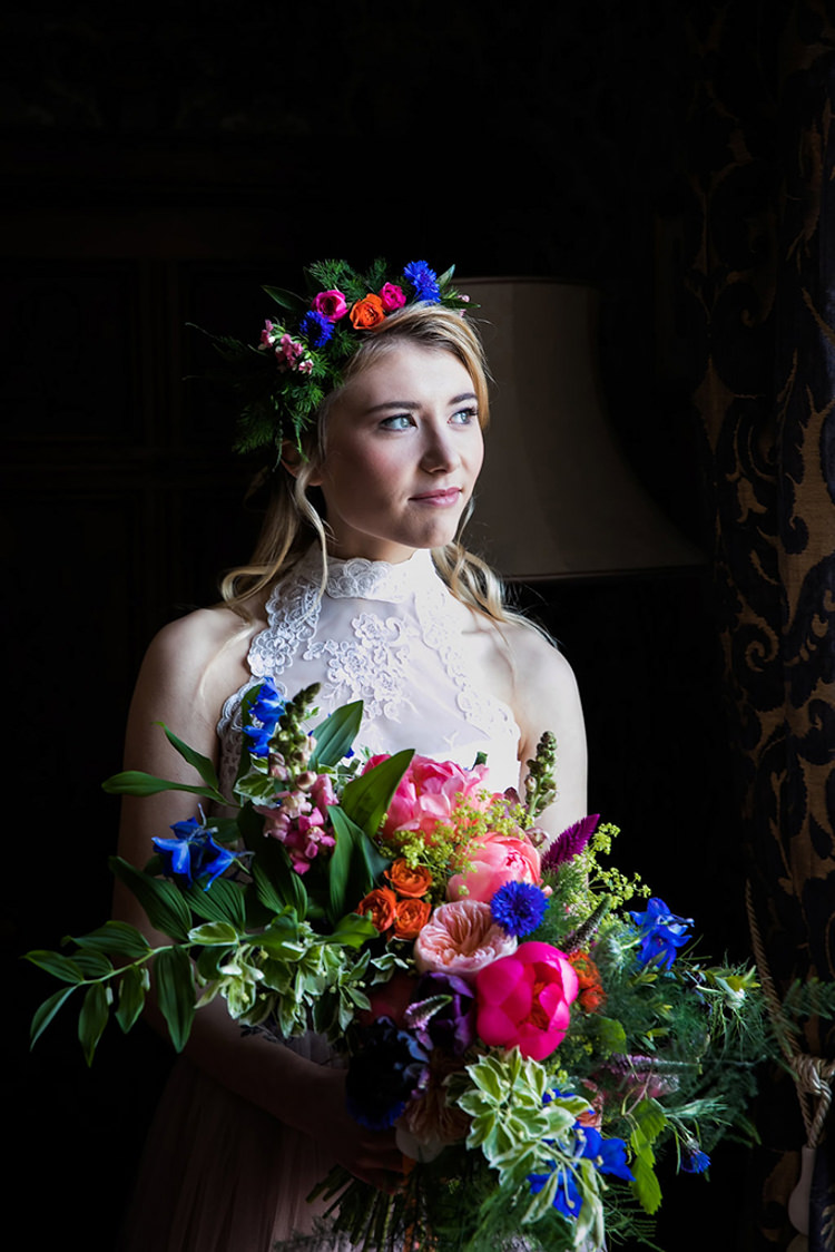 Bouquet Bride Bridal Pink Peony Peonies Rose Blue Foliage Greenery Crown Her Heart Was A Secret Garden Wedding Ideas Woodland Colourful Spring Bluebells Flowers http://sarabeaumontphotography.com/