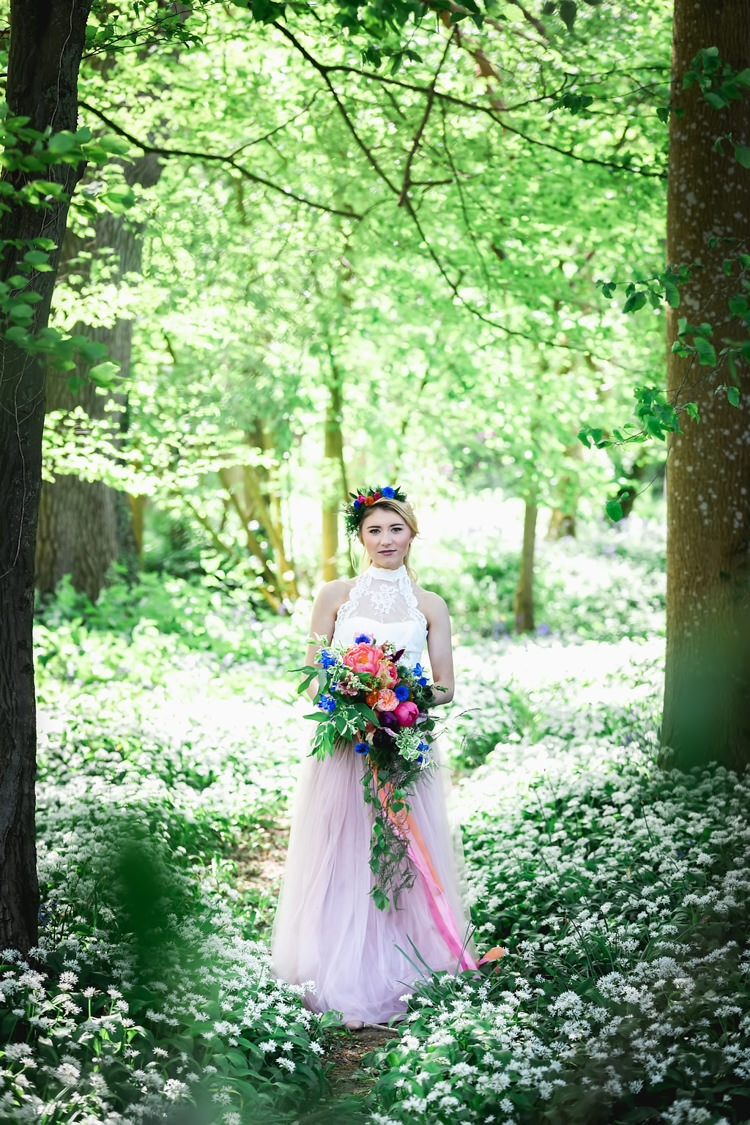 Pink Tulle Skirt Bride Bridal Dress Gown Her Heart Was A Secret Garden Wedding Ideas Woodland Colourful Spring Bluebells Flowers http://sarabeaumontphotography.com/