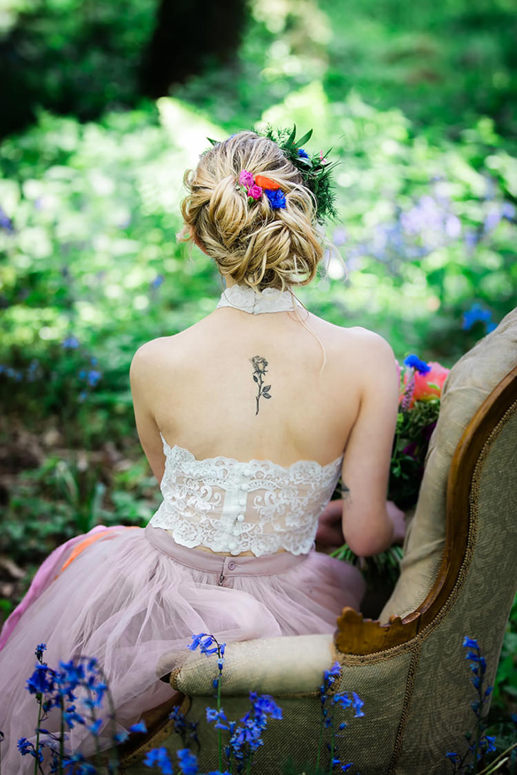 Hair Up Do Style Bride Bridal Back Tattoo Her Heart Was A Secret Garden Wedding Ideas Woodland Colourful Spring Bluebells Flowers http://sarabeaumontphotography.com/
