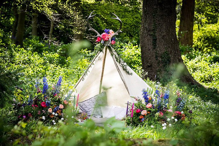 Tipi Tent Her Heart Was A Secret Garden Wedding Ideas Woodland Colourful Spring Bluebells Flowers http://sarabeaumontphotography.com/