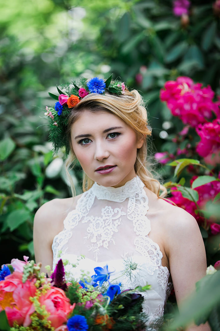 Make Up Bride Bridal Natural Pretty Her Heart Was A Secret Garden Wedding Ideas Woodland Colourful Spring Bluebells Flowers http://sarabeaumontphotography.com/
