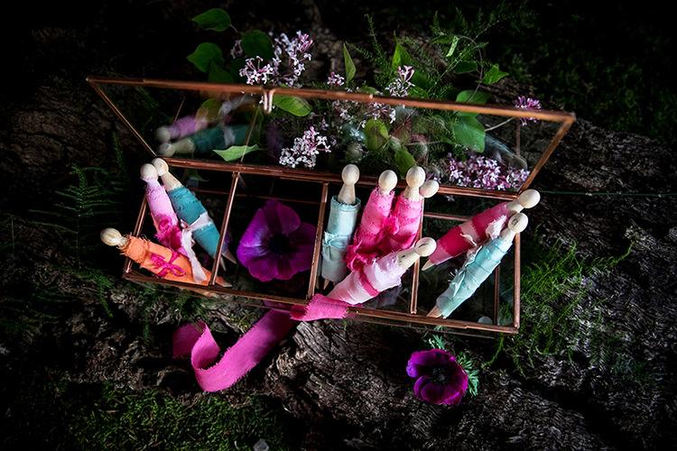 Raw Silk Fabric Her Heart Was A Secret Garden Wedding Ideas Woodland Colourful Spring Bluebells Flowers http://sarabeaumontphotography.com/