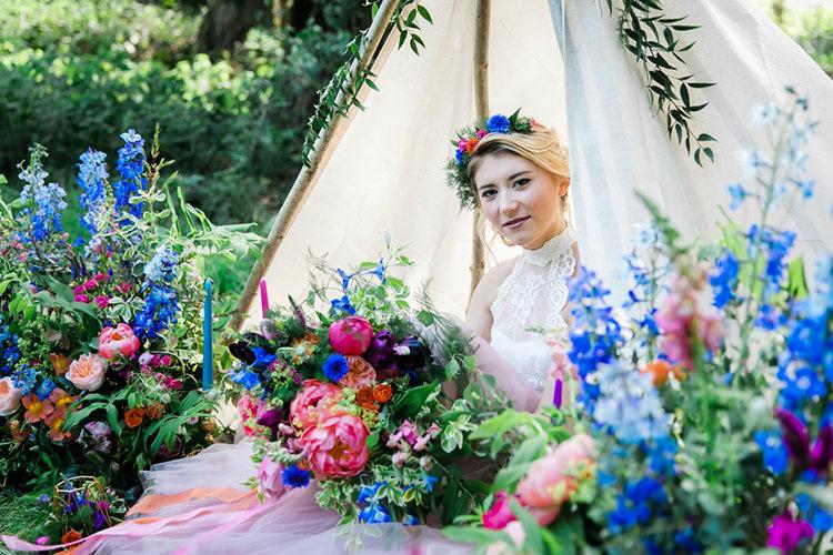 Her Heart Was A Secret Garden Wedding Ideas Woodland Colourful Spring Bluebells Flowers http://sarabeaumontphotography.com/