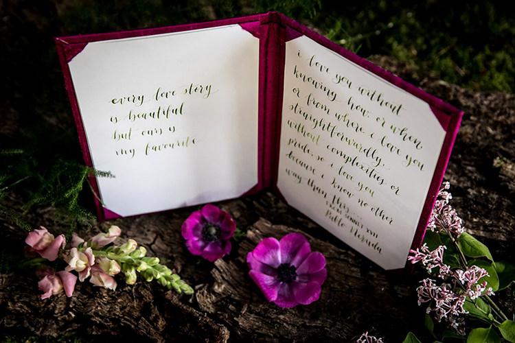Vows Book Her Heart Was A Secret Garden Wedding Ideas Woodland Colourful Spring Bluebells Flowers http://sarabeaumontphotography.com/