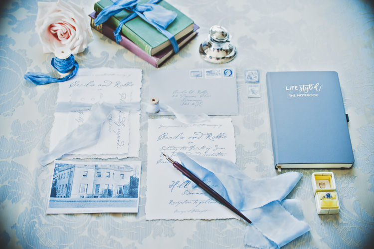 Stationery Letters Suite Calligraphy Blue Ribbons Envelope Stamps Thoroughly Modern Cecilia Atonement Glamorous 1940s Wedding Ideas http://ikonworks.co.uk/