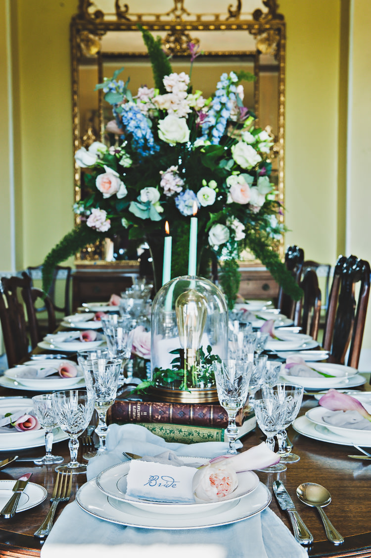 Table Flowers Decor Tablescape Candles Lamp Thoroughly Modern Cecilia Atonement Glamorous 1940s Wedding Ideas http://ikonworks.co.uk/